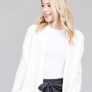 Sweaters - LADIES FASHION DOLMEN SLEEVE OPEN FRONT CARDIGAN